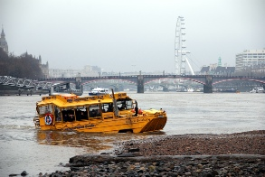 Amphibious bus near Vauxhall bridge