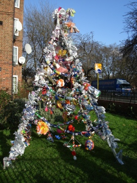 Recycled Christmas tree opposite Oval station
