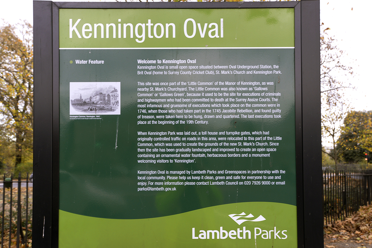 Kennington Oval greenspace sign
